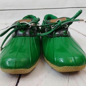 Sperry Duck Boots Low Green Waterproof Rain Bootie